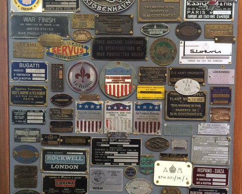 An interesting plaque of machine tool tags
