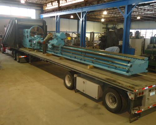 Loading a large Skoda lathe