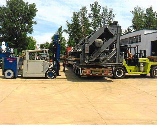 Loading a 600T DAKE Wheel Press